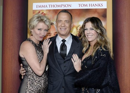 "Cast members Emma Thompson (L), Tom Hanks and his wife Rita Wilson (R) attend the film premiere of ""Saving Mr. Banks,"" at the Walt Disney St"