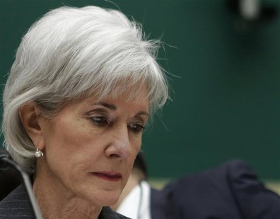 U.S. Health and Human Services Secretary Kathleen Sebelius waits before testifying at the House Energy and Commerce Health Subcommittee on ""