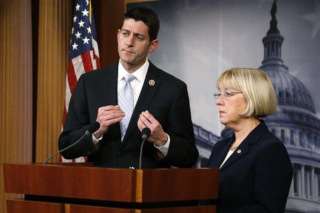 Senate Budget Committee chairman Senator Patty Murray (D-WA) (R) and House Budget Committee chairman Representative Paul Ryan (R-WI) (L) hol
