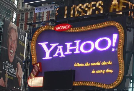 A Yahoo billboard is seen in New York's Times Square October 19, 2010. Yahoo Inc will be reporting its quarterly earnings Tuesday. REUTERS/B