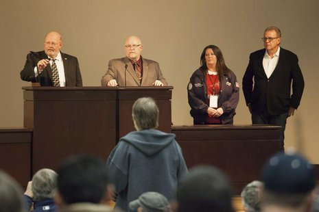 (L-R) Union leaders Mark Johnson, Tom Wroblewski, Susan Palmer and Rich Michalski announce the results of a union vote while speaking at the