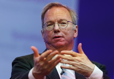 Google Executive Chairman Eric Schmidt speaks at the Google Big Tent event at the Grove Hotel, on the outskirts of London May 22, 2013. REUT