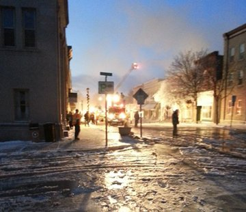 Crews respond to fire in downtown Ripon on Wednesday Dec. 11, 2013. (Photo from: KFIZ reporter Bob Nelson).