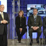 General Motors Chairman and CEO Dan Akerson (L) announces he is stepping during a Town Hall meeting with employees in Detroit, Michigan in this December 10, 2013 handout photo. Looking on are new CEO Mary Barra (2nd L), new GM President Dan Ammann, and new Executive Vice President, Global Product Development, Purchasing and Supply Chain Mark Reuss (R). REUTERS/Steve Fecht/General Motors/Handout via Reuters