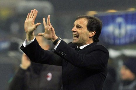 AC Milan's coach Massimiliano Allegri reacts during their Champions League soccer match against Ajax Amsterdam at the San Siro stadium in Mi