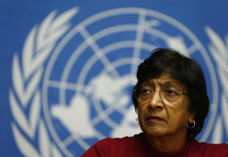 U.N. High Commissioner for Human Rights Navi Pillay attends a news conference at the United Nations European headquarters in Geneva December