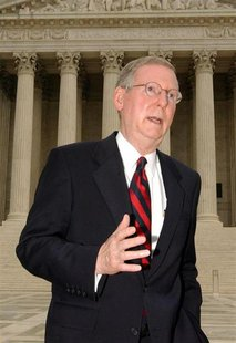 File photo of Sen. Mitch McConnell (R-KY) speaking outside the U.S. Supreme Court in Washington, D.C., September 8, 2003. REUTERS/Stefan Zak