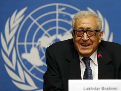 Arab League-United Nations envoy Lakhdar Brahimi addresses a news conference on the situation in Syria at the United Nations European headqu