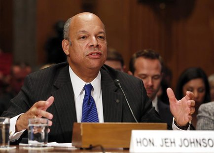 Jeh Johnson testifies before the Senate Homeland Security and Governmental Affairs Committee confirmation hearing on his nomination to be th