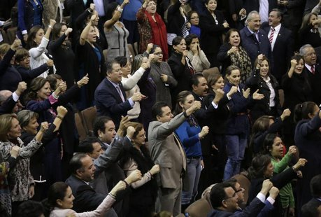 Mexican congressmen celebrate after the lower house gave the final approval to a landmark energy reform in Mexico City December 12, 2013. RE