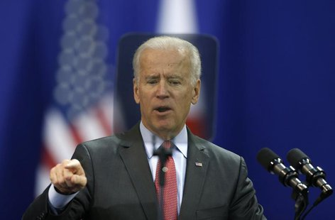 U.S. Vice President Joe Biden delivers his speech at Yonsei University in Seoul December 6, 2013. REUTERS/Kim Hong-Ji