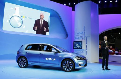 Jonathan Browning, President and CEO of the Volkswagen Group of America, introduces the Volkswagen eGolf electric car at the Los Angeles Aut