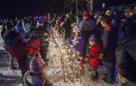 Some of the hundreds who gathered to attend the 29th annual Ram Pasture Tree Lighting look on in Newtown, Connecticut December 11, 2013 . De