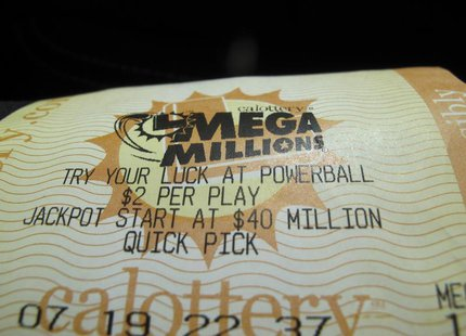 A mega million lottery ticket is shown in this illustration photograph in San Diego, California December 11, 2013. REUTERS/Mike Blake