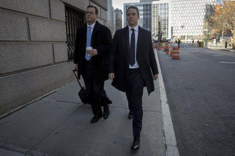 Former SAC Capital portfolio manager Michael Steinberg (R) arrives with his lawyer Barry Berke at the Manhattan Federal Courthouse in New Yo