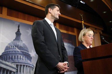 House Budget Committee chairman Representative Paul Ryan (R-WI) (C) and Senate Budget Committee chairman Senator Patty Murray (D-WA) (R) hol