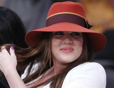 Khloe Kardashian sits courtside before the Los Angeles Lakers play the Dallas Mavericks in Game 1 of their NBA Western Conference semi-final
