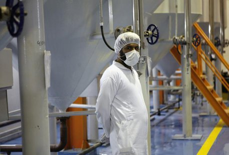 A technician is seen at the uranium conversion facility in Isfahan, 450 kilometers south of Tehran February 3, 2007. REUTERS/Caren Firouz