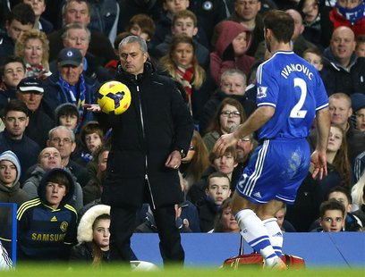 Chelsea manager Jose Mourinho pats the ball to Branislav Ivanovic during their English Premier League soccer match against Crystal Palace at