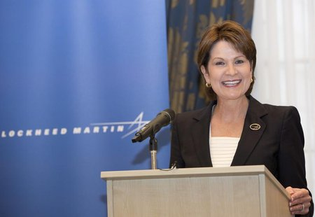 Chief Executive Officer and President of Lockheed Martin Corporation Marillyn A. Hewson speaks at a news conference in London, July 1, 2013.