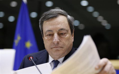 European Central Bank (ECB) President Mario Draghi testifies before the European Parliament's Economic and Monetary Affairs Committee in Bru