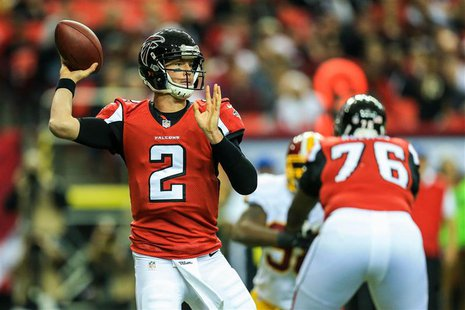 Dec 15, 2013; Atlanta, GA, USA; Atlanta Falcons quarterback Matt Ryan (2) throws a pass in the first half against the Washington Redskins at