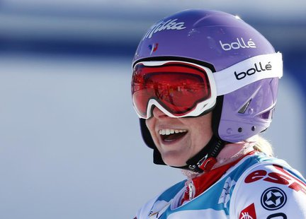 Tessa Worley of France reacts after winning the second run of the giant slalom race at the women's Alpine skiing World Cup competition at th