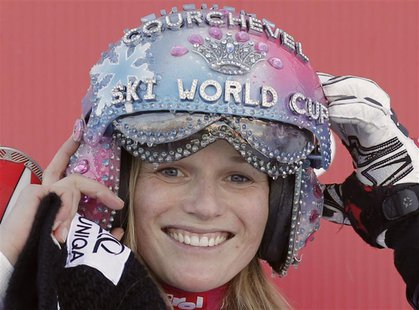 Marlies Schild of Austria celebrates on the podium after winning the Women's World Cup Slalom skiing race in Courchevel, French Alps, Decemb