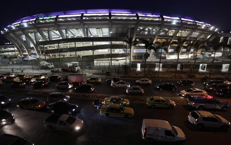 Heavy traffic is pictured during rush hour in front of Maracana stadium, one of the venues hosting the upcoming Confederations Cup, in Rio d