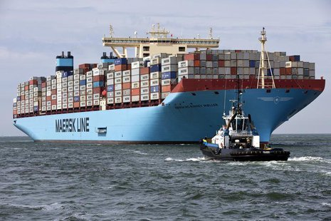 The MV Maersk Mc-Kinney Moller, the world's biggest container ship, arrives at the harbour of Rotterdam August 16, 2013. REUTERS/Michael Koo