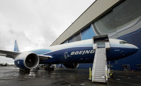 The first Boeing 777 freighter is displayed outside a hangar prior to its debut ceremony at the company's factory in Everett, Washington, Ma
