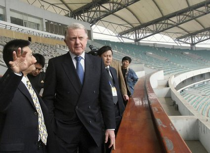 Hein Verbruggen, chairman of the International Olympic Committee (IOC) Coordination Commission for the Beijing 2008 Olympic Games, visits th