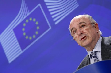 European Union Competition Commissioner Joaquin Almunia addresses a news conference at the EU Commission headquarters in Brussels December 4