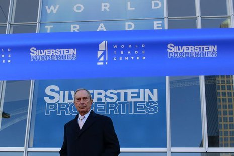 New York City Mayor Michael Bloomberg stands before a ribbon cutting ceremony to mark the opening of the new 4 World Trade Center in New Yor