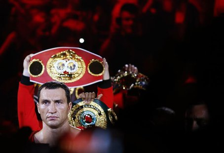 Ukrainian heavyweight boxing world champion Vladimir Klitschko walks in for his title fight against Italian-born Francesco Pianeta at the SA