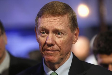 Ford Motor Co. CEO Alan Mulally attends a gathering with members of the media at the Ford Conference Center in Dearborn, Michigan December 1