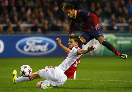 Ajax Amsterdam's Joel Veltman (L) fights for the ball with Barcelona's Neymar (R) during their Champions League group H soccer match at Amst