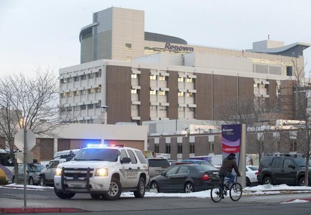 A Washoe County Sheriff vehicle blocks the entrance of the Renown Regional Medical Center during a lockdown in Reno, Nevada December 17, 201