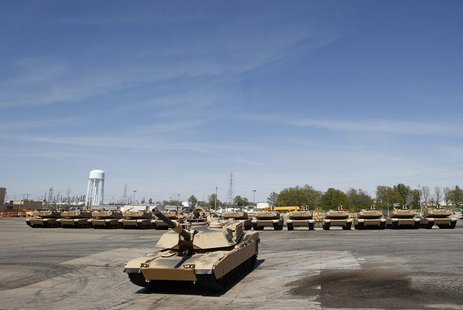 Tanks on display during a tour of the Joint Systems Manufacturing Center, Lima Army Tank Plant, in Lima, Ohio, April 23, 2012. REUTERS/Matt
