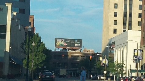 The billboard downtown is prominently located right at the end of Michigan Avenue where it splits into East Michigan and Portage Road.