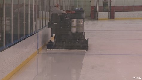 A zamboni tends to the ice at the De Pere Ice Arena.  The arena was shut down Monday, December 16, 2013 due to air safety conditions. (Photo from FOX 11).