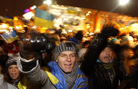 Protesters chant slogans during a demonstration in support of the EU integration at Independence Square in Kiev in this November 28, 2013 fi