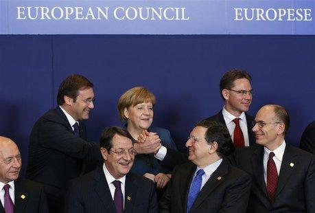 (L-R) Romania's President Traian Basescu, Portugal's Prime Minister Pedro Passos Coelho, Cyprus' President Nicos Anastasiades, Germany's Cha