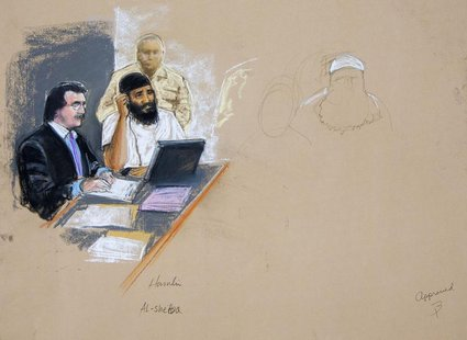 In this photograph of a sketch by courtroom artist Janet Hamlin, reviewed by the U.S. Military, Ramzi Binalshibh (seated C) attends a court