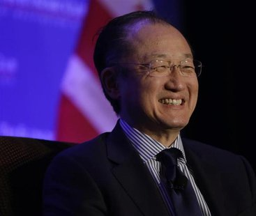 World Bank President Dr. Jim Yong Kim is interviewed by the President of the Economic Club of Washington David Rubenstein (not pictured) dur