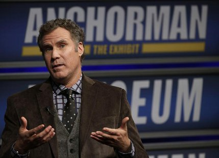 Actor Will Ferrell speaks while being interviewed by Washington Post film critic Ann Hornaday (not pictured) at the Newseum during an event