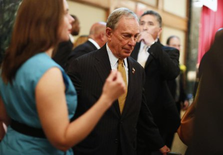 New York City Mayor Michael Bloomberg exits after a speech to the Real Estate Board of New York in New York, May 30, 2013. REUTERS/Brendan M