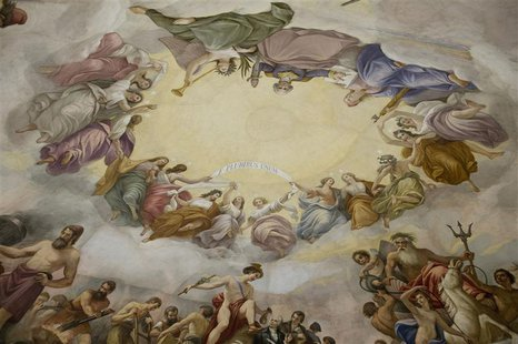 "A detail of Constantino Brumidi's painting ""The Apotheosis of Washington"" is shown on the ""eye"" or ceiling of the U.S. Capitol's rotunda dur"