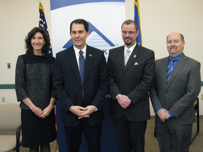Amy Kerwin, Great Lakes VP of Community Investment, Governor Scott Walker, Mayor Andrew Halverson, Marc Storch, Chief of Borrower's Services