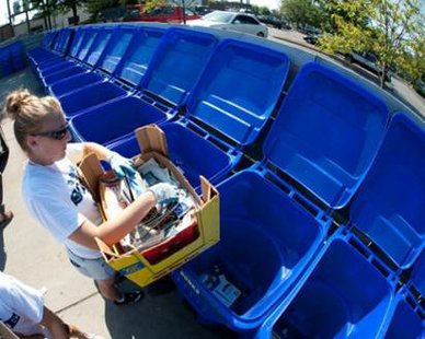 ISU Recycling Center Bins